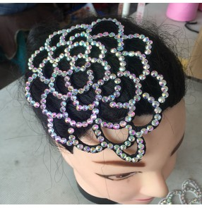 Women's rhinestones latin ballroom dance headdress female professional dance hair accessories